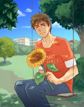 Teppei with sunflower by a3107