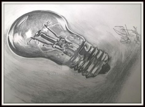 Drawing of light bulb by Mixartlove