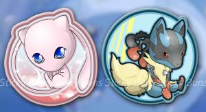 Mew and Mega Lucario Keychain Designs by Yuupewpew