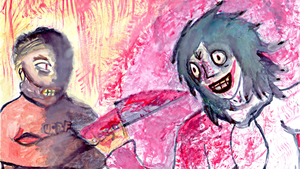 [Painting] Hannibal Lecter vs Jeff the Killer by Combusken11