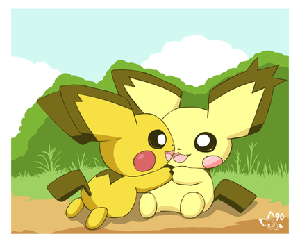 Shiny and notched ear pichus by pichu90
