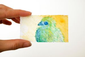Tiny Watercolor Chick Painting by brandimillerart
