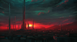 Speedpaint :: Cityscape at Sunset by MissWiggle
