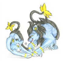 Shinx and Luxio by CaptainMorwen
