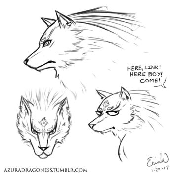 Wolf Link Sketches - Daily Doodle #29 by AzuraDragoness