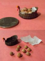 Tiny Turkey Basket and Rolls by Kyle-Lefort