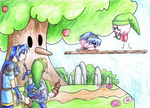 SSB Link and Marth Kirby by Rachet777