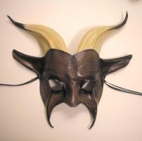 Leather Goat Mask Grey and Tan by teonova