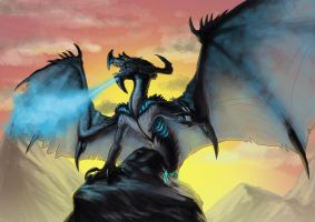 Wyvern of the Blue Flame by Infernal-Feline