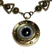 Steampunk Bleu eye Necklace by CatherinetteRings