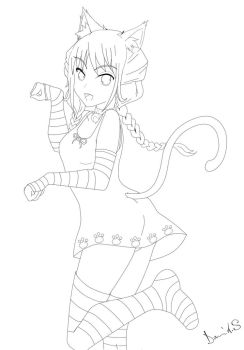 Bliss the cat (line art)  Preview by Banshee32