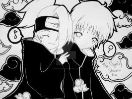 Chibi Deidara and Sasori by ShiranuiKai