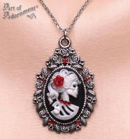 Madam Muerte Skull Cameo Necklace by ArtOfAdornment