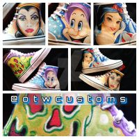 Snow White Hand Painted Custom Vans by VeryBadThing