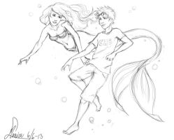 Ariel and Percy by MonsieArts