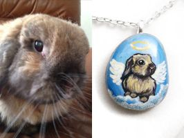 Custom Rabbit Pendant Necklace by sobeyondthis