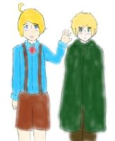 Hetalia: Young Alfred and Arthur(Pen) by matisse77
