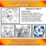 ANIMAL HEADSHOT SKETCH COMMISSIONS OPEN by KasaraWolf