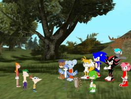 Phineas, Ferb, and Candace meet lots of characters by YRT9401