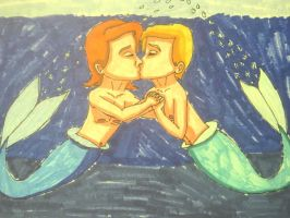 Apollo and Hermes' First Kiss by Caharvey