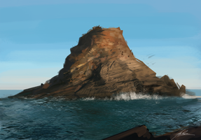 Ocean Rock Speedpainting by AlexRuizArt