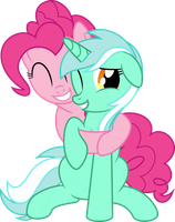 HUGS! Pinkie and Lyra by VaderPL