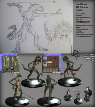 Lizard Lady Dungeons and Dragons Miniature Model by Lexinator117
