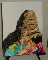 FS: Slave Leia + Jabba the hut by raccoon-eyes