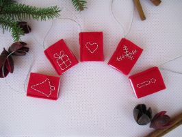 Tiny Red Felt Books with Silver Embroidery by ExinaArt
