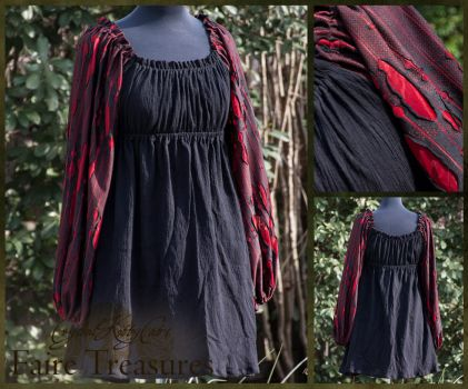 Red and Black Renaissance Chemise by CrystalKittyCat