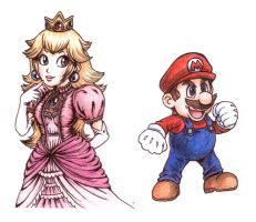 Peach and Mario by icha-icha