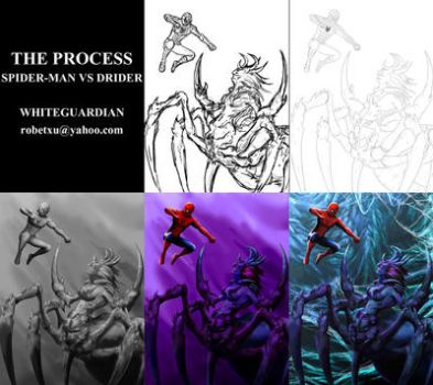 Spider-Man vs Drider The Process by whiteguardian