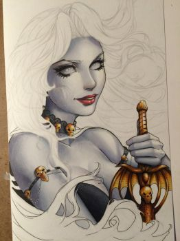 Lady Death Sketch Cover WIP by ColletteTurner