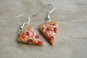 Pepperoni Pizza Earrings 2015 by LittleSweetDreams