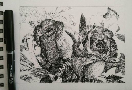 Stippling Roses by BenjiroPV