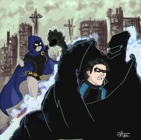 Raven vs Nightwing by thewipeout