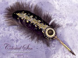 The CELESTIAL SUN Astrologers Feather Quill Pen by ChaeyAhne