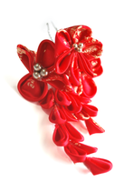 Red Orchid Inspired Kanzashi. by hanatsukuri