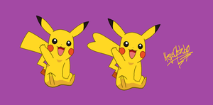 Pikachu male and female by CatLoverHegeX3