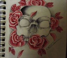 skull and roses by punkins