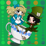 Alice and the Hatter [Color Practice] by ChibiShay