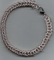 Pink and Silver Box Chain Bracelet by Diglette