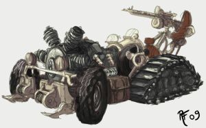 Steampunk car sketch by RobertFriis