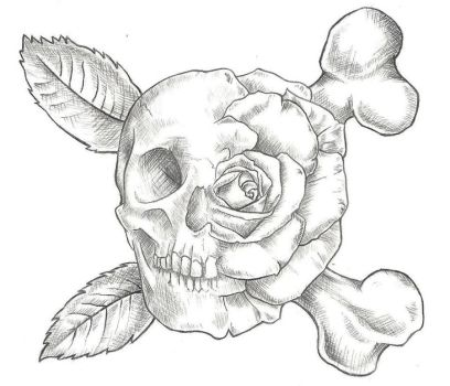 Skull and Rose Tattoo Design by jinx2304