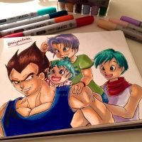 The Papa Train - Vegeta/Bulma/Trunks/Bra (DBS) by saiyanbura