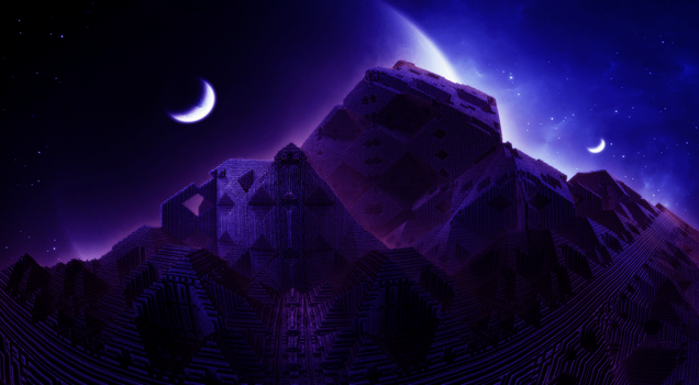 Pyramid another planet - night by KPEKEP