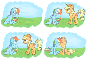 Applejack and Rainbow Dash Forgive and Forget by Redesine