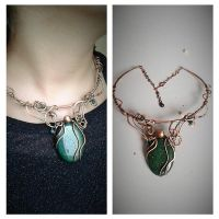Copper wire fairy necklace with  Aventurine stone by TangledWorld
