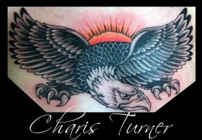 Traditional Eagle Chest Piece Tattoo by Metacharis