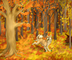 Fall Romp by Aquillic-Tiger